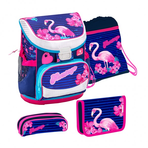 Schulranzen-Set Belmil Mini Fit Flamingo 4tlg.