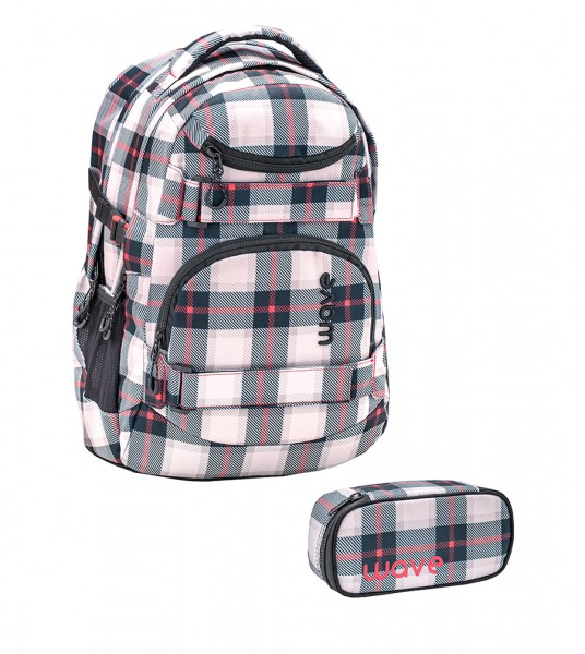 Schulrucksack-Set1 Wave Infinity Grey/Red Pattern ca.30L 2tlg.