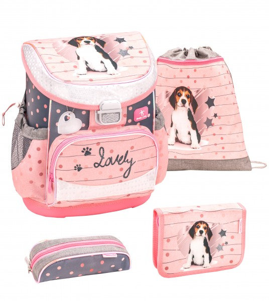 Schulranzen-Set Belmil Mini Fit Lovely Beagle 4tlg.