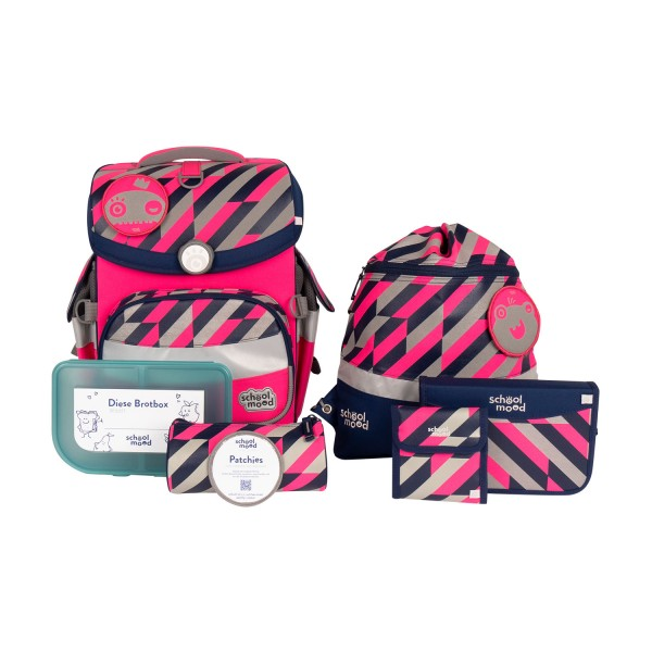 Schulranzen-Set School Mood Timeless Air Plus Yuna (Neon Pink) im Neon-Design 7tlg.