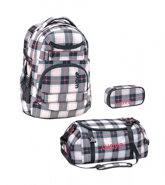 Schulrucksack-Set2 Wave Infinity Grey/Red Pattern ca.30L 3tlg.
